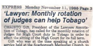 Tobago Lawyers Association - News Archive - Scan of Newspaper article 11-11-85