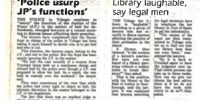 Tobago Lawyers Association - News Archive - Scan of Newspaper article 14-06-85