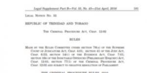 Tobago Lawyers Association - News - the Criminal Procedure Rules, 2016